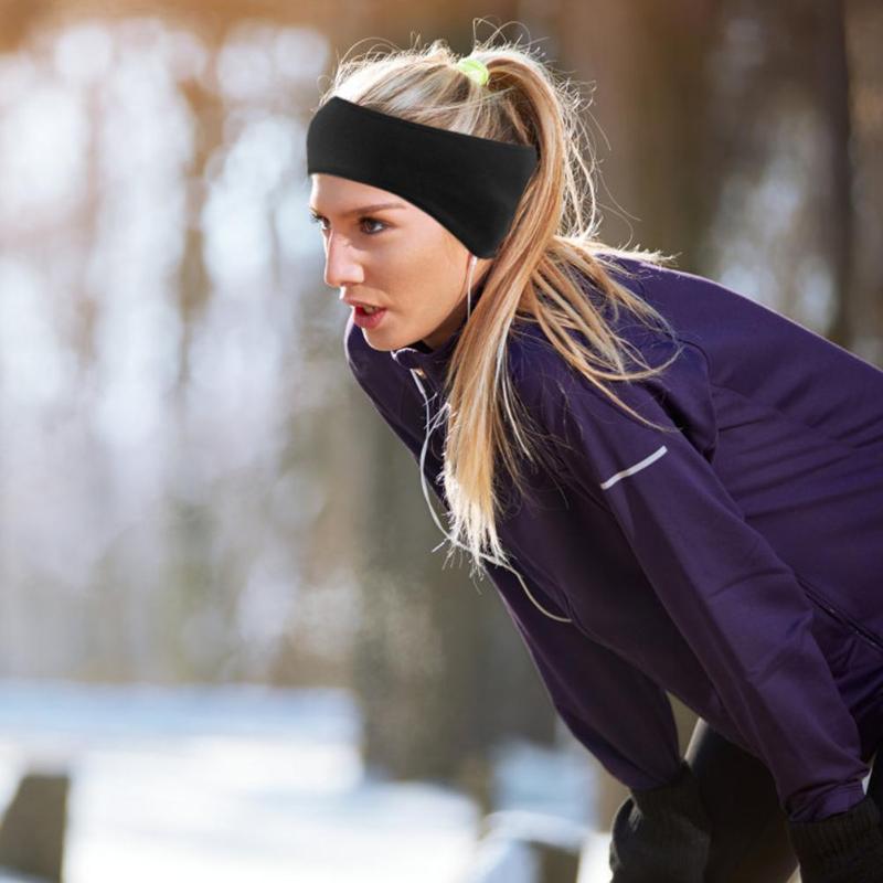 Outdoor Fleece Ponytail Headband Yoga Running Fitness Sports Warm Sweatband UK