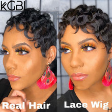 KGBL 13*4 Pixie cut Lace Front Human Hair Wigs 8'' 150% 180% Density With Baby Hair Brazilian Non-Remy Medium Ratio(Китай)
