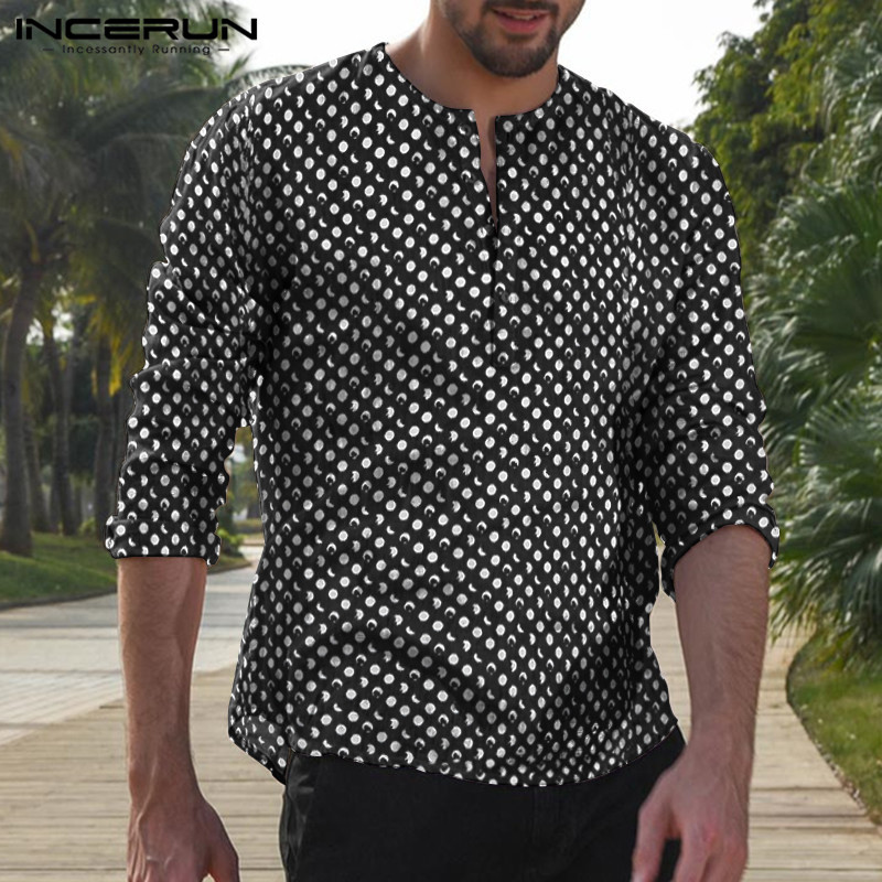 New Men/'s Autumn Casual Long Sleeve Shirts Button Down Vintage Rayon Tops Blouse