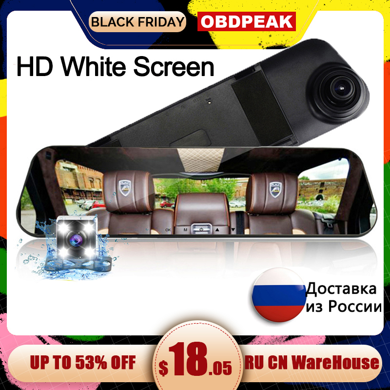 Car Dvr Rearview-Mirror-Recorder Car-Camera Video-Registrator Dual-Lens White Auto  title=