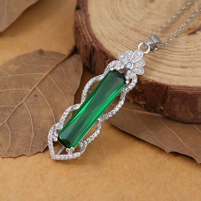 Fancy Cut CreatedRuby Tourmaline Emerald Pendants Necklace For Women