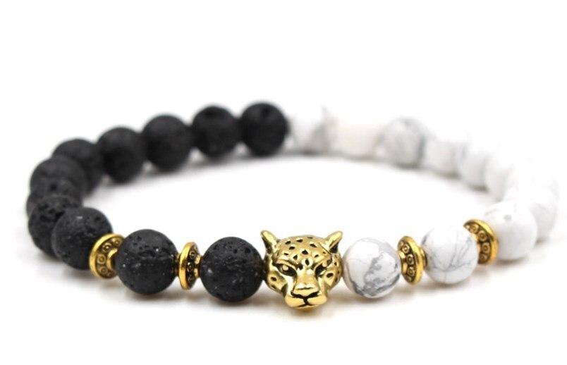 Details about  /Lava Rock Howlite Beads Bracelets Gold Silver Lion Head Agate Women Men Bracelet