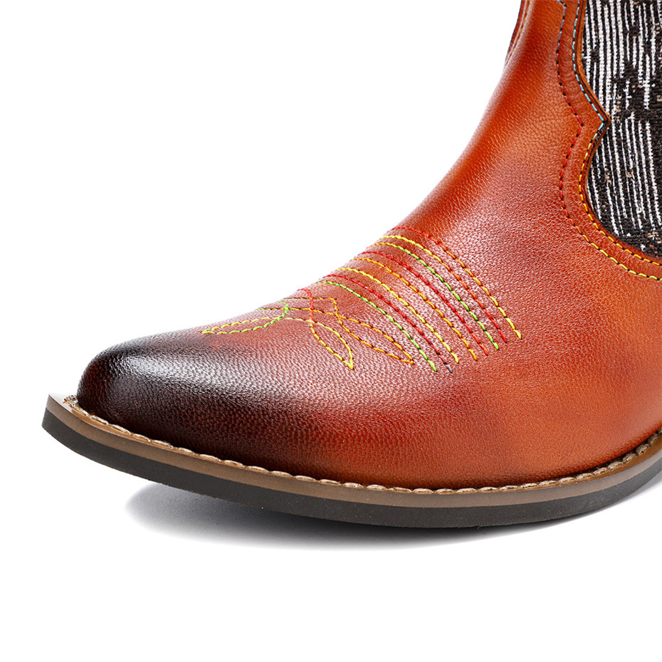 New Genuine Leather Fine Printed Ladies Shoes Ankle Boots Vintage Handmade Chunky Heel Embroidery Western Boots Shoes For Woman  (3)