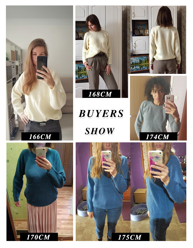 Korean Fashion Ladies Full Sleeve Women Knitting Sweater Solid O-Neck Pullover And Jumper Loose Sweater Hot Sale S809Q 4