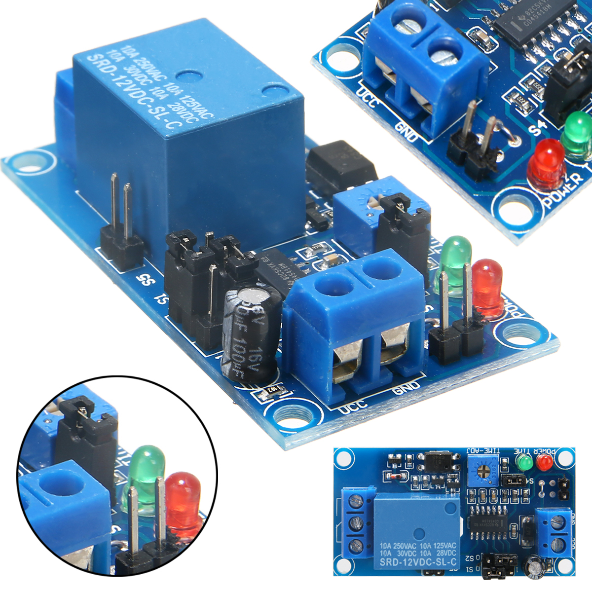 1pc  Adjustable Time Relay Module DC 12V Time Delay Relay Module Circuit Timer Timing Board Switch Trigger