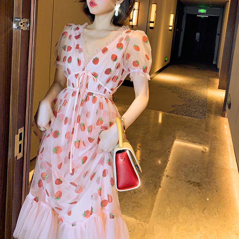 Runway Rhinestone Diamonds Strawberry Pink Mesh Maxi Dress Women Short Puff Sleeve Sexy V-neck Lace-up Bow Tunic Lolita Dress (13)