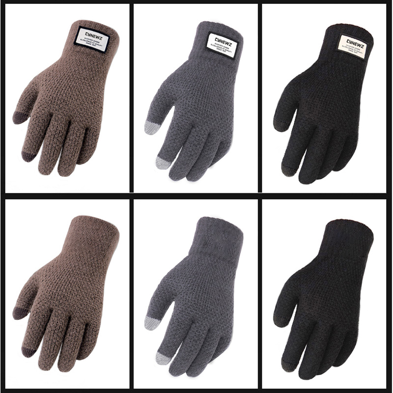 Winter Autumn Men Knitted Gloves Touch Screen High Quality Male Thicken Warm Wool Cashmere Solid Gloves Men Mitten Business