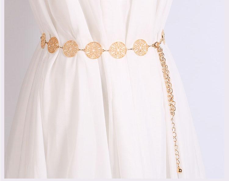 Elegante Damen Wave Golden Metallbund Taille Brautkleid Gürtelkette