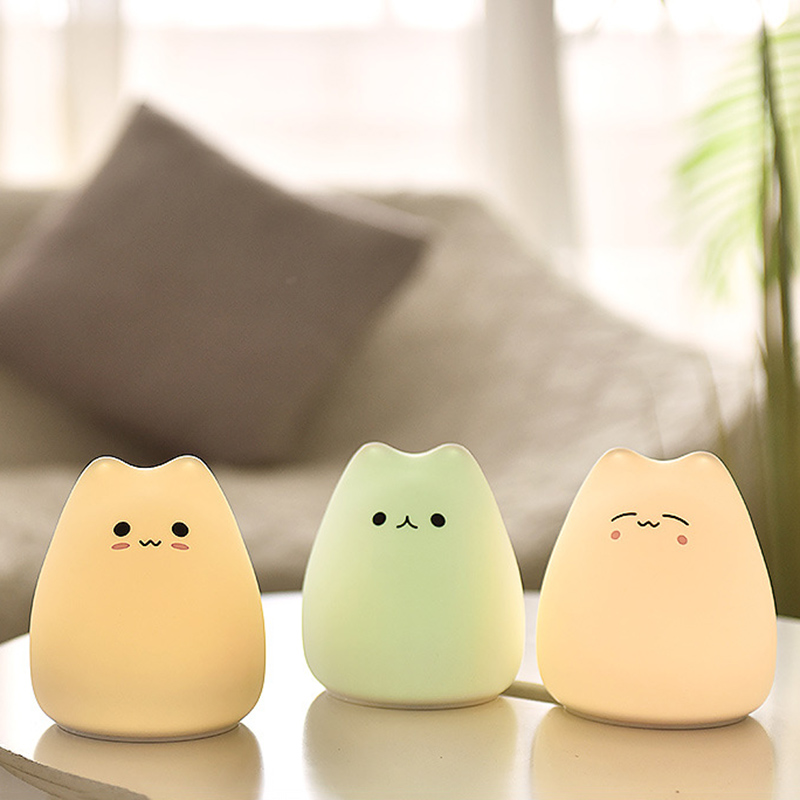 Cute LED Night Light Silicone Touch Sensor 7 Colors Cat Night Lamp Kids Baby Bedroom Desktop Decor Battery/USB Charge-08