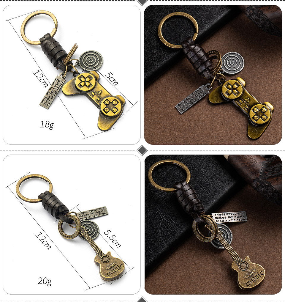 Fashion Car Key Chain Ring Lovers Couple Music Guitar Keyboard Gamepad Elephant Whistle Hat Tank Motorcycle Scooter for Key Tags Gifts (121)