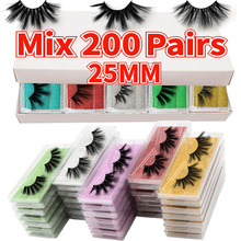 MB 25mm lashes 200/100/50/5Pairs Wholesale 5D 25 MM Mink Eyelashes in Bulk faux cils Makeup Dramatic Long False Eye lashes