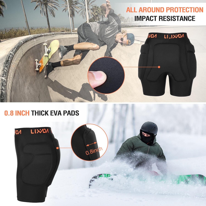 Pantalon de Protection pour Hanches Hanches de Protection Shorts rembourr/és en EVA Un Coussin de Protection Amovible pour Coussin de Skateboard,Noir