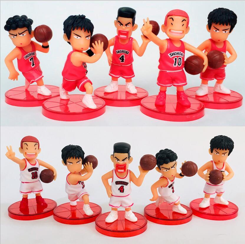 5pcs//lot Anime Slam Dunk Sakuragi Hanamichi Rukawa Kaede Gift Action Figure Toys