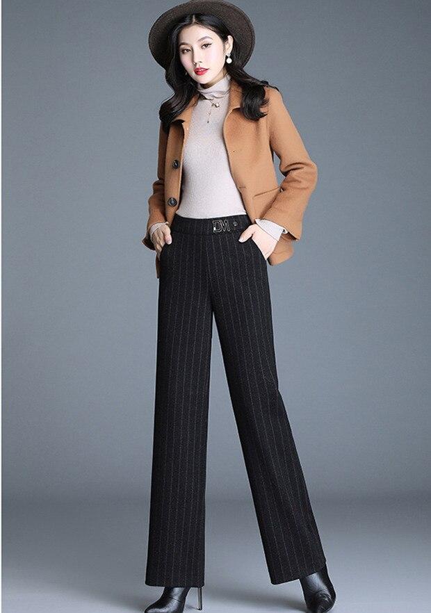 Vertical stripe wide leg pants women/'swinter woolen pants 2019 straight bobbin pants drape feeling women/'s pants winter JN966