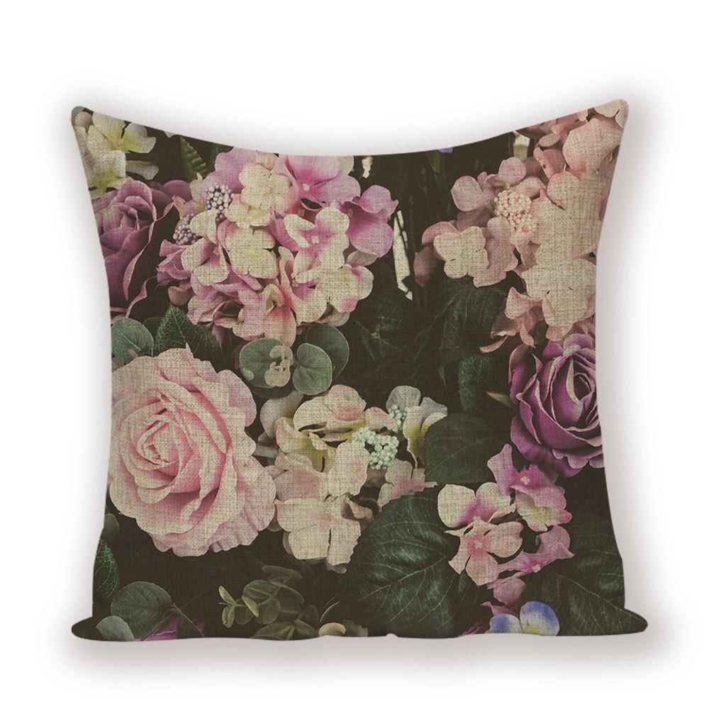 Retro Design 18/'/' Cushion Cover Pillow Case Purple Rose Flower Vase Home Decor
