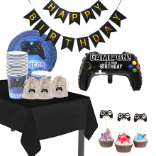 Table-Cloth-Cover Topper Candy-Bag Video-Game-Theme Birthday-Party-Decoration Balloon