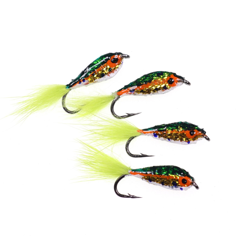 4 Pack Natural Epoxy Minnow Fishing Flies Minnow Trout Flies Size 10