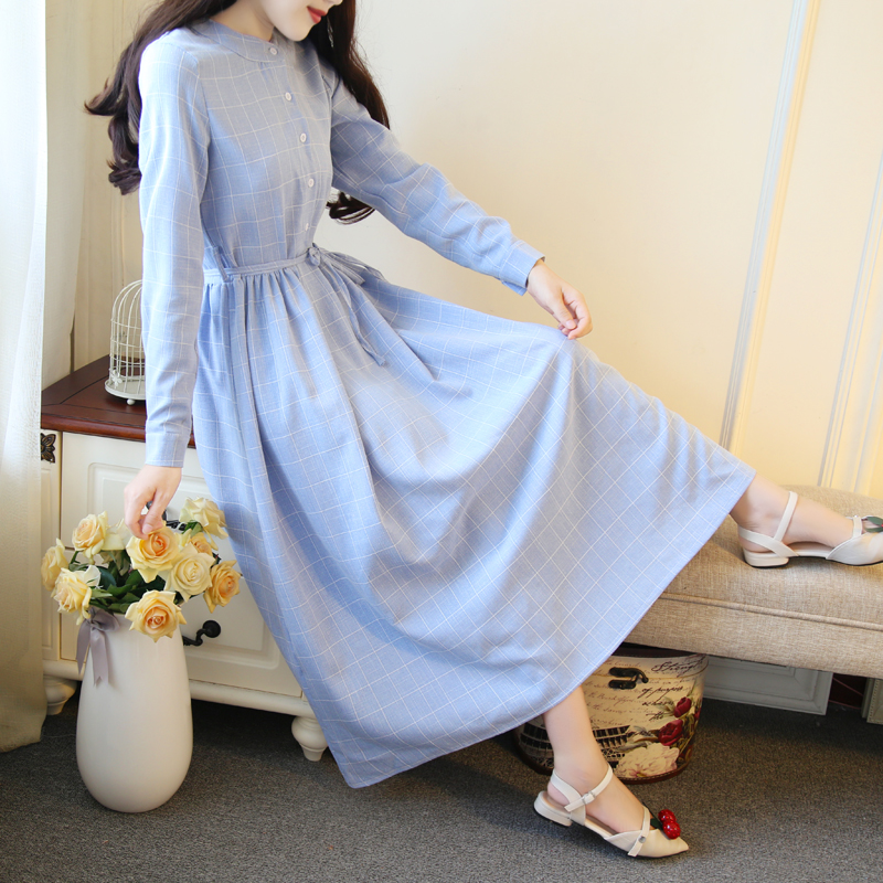 Mori Girl Spring Autumn Women Long Dress Gray Blue Plaid Casual Vestidos Longo Vintage Elegant Cotton Linen Korean Sweet Dresses