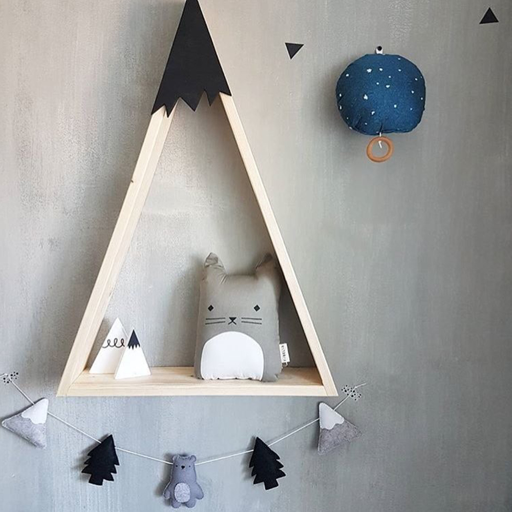 2PCS Wooden Shelves Wall Mounted Home Bedroom Display Decorative Shelf Coffee US