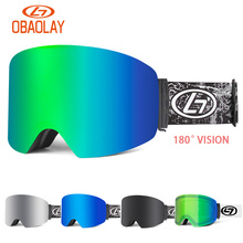OBAOLAY Wide Vision Ski Goggles Double Lens UV400 Anti-Fog Skiing Eyewear Snow Glasses Men Women Adult Skiing Snowboard Goggles