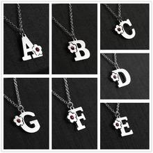 Alphabet Pendant Necklaces Capital-Letter Skyrim Crystal Stainless-Steel Women C-D-E-F