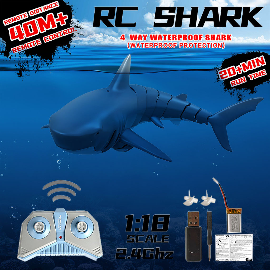 Sea Life - Radio Remote Control Toys Electronic Shark Fish Boat Durable 4 Channel Underwater Toy