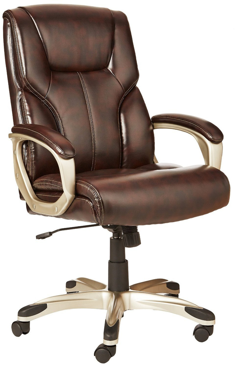 Leather High-Back Executive Swivel Office Desk Chair with Pewter Finish Office Chair Computer Chair Boss Chair title=