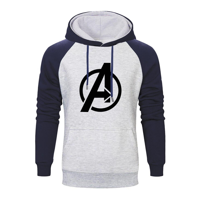Marvel Movie Avengers Logo Printed Raglan Hoodies Men 2019 Autumn Thanos Infinity Gauntlet Men