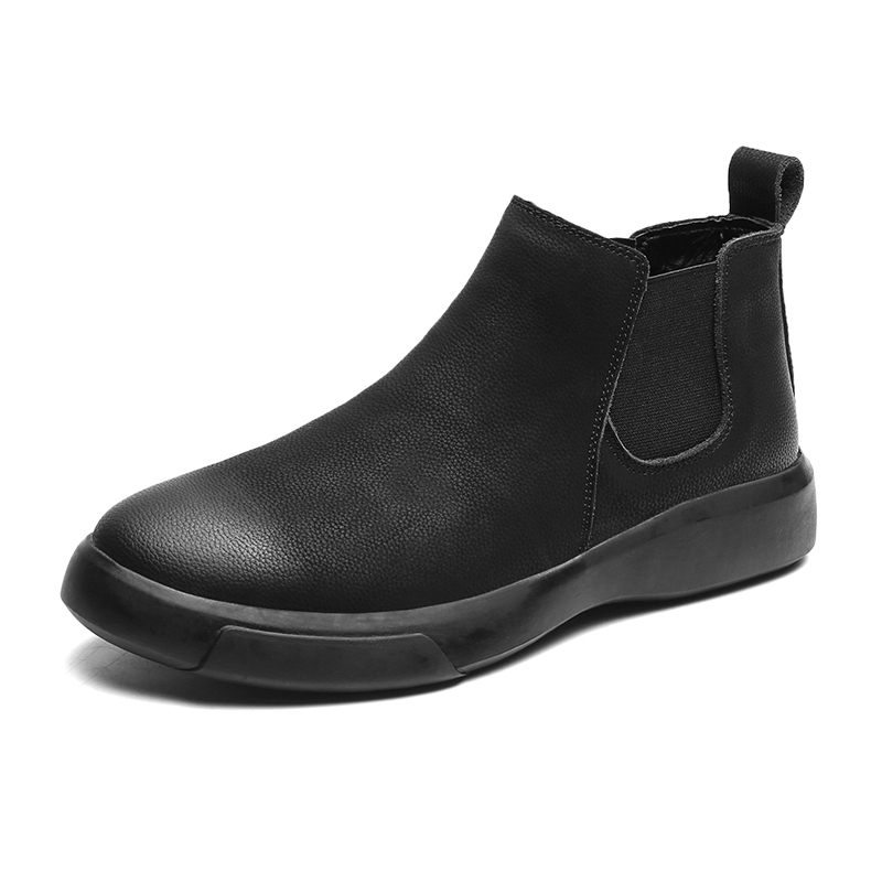 MARSON Men's Casual Flats Boots Short Shoe Ankle Short Boot Comfortable Waterproof Outdoor Slip-On Leather Footwear Plus Size