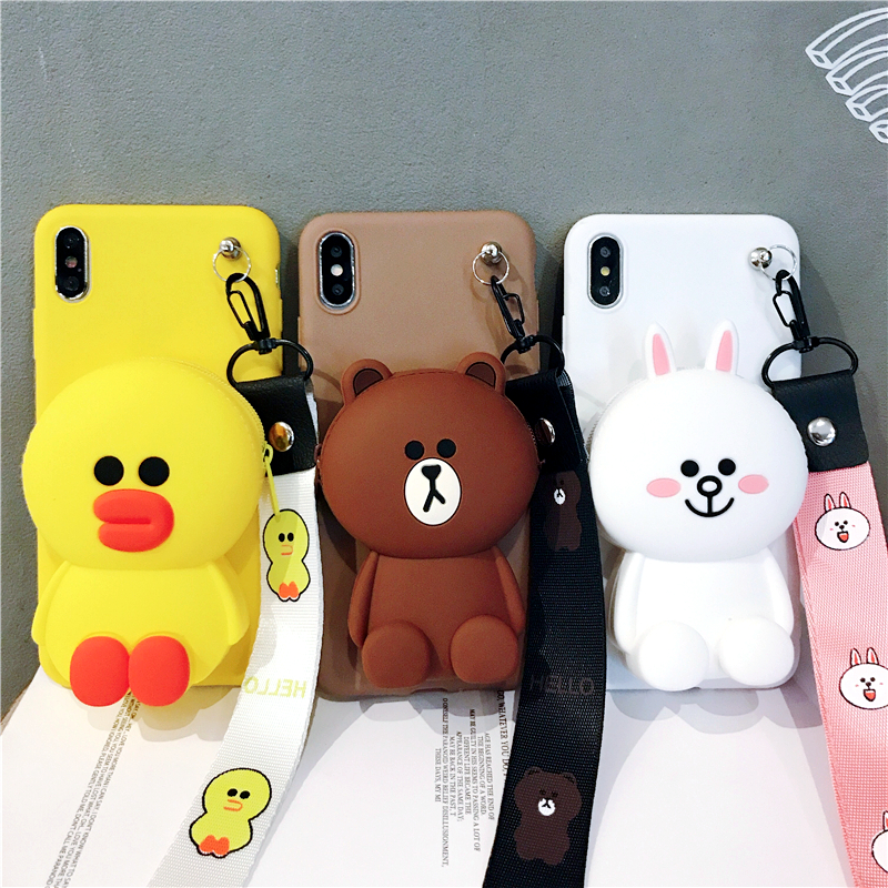 3D sewing bear cartoon zipper wallet  for apple iphone 11 XR XS 7 11Pro 11ProMax silicone phone case