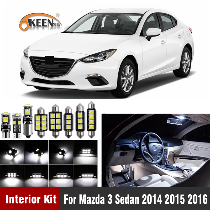 11Pieces Pure White LED SMD Interior Lamp Package Kit For 2014-2015 Mazda 6