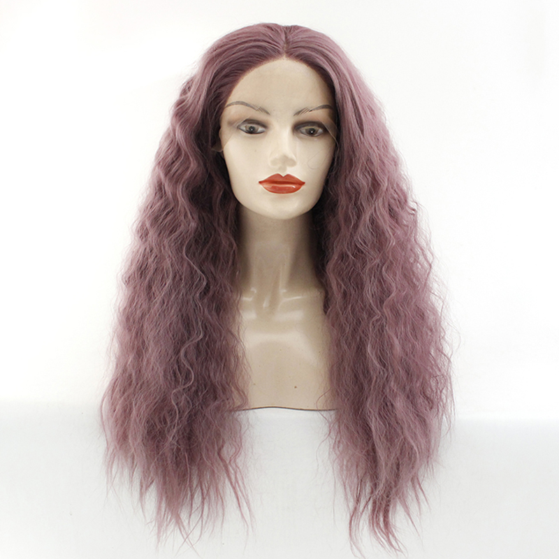 Loose Curly Synthetic Wig Dark Purple Lace Front Wigs Kinky Curly Heat Resistant Fibers Half Hand Tied Lace Front Wigs Cheap