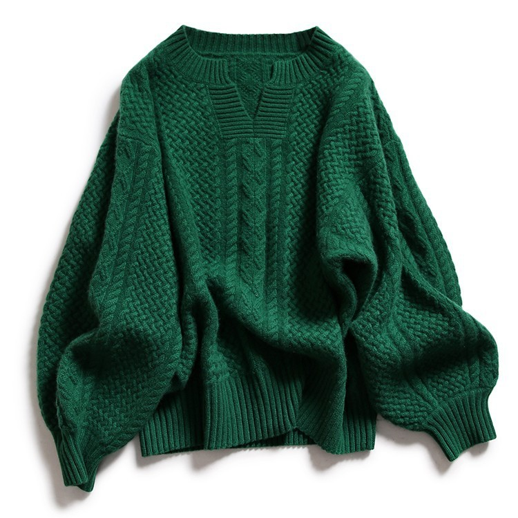 High Quality Cashmere Blended Knitted Sweater Women Tops Autumn Winter V-neck Pullover Female Warm Loose Knitted Jumper