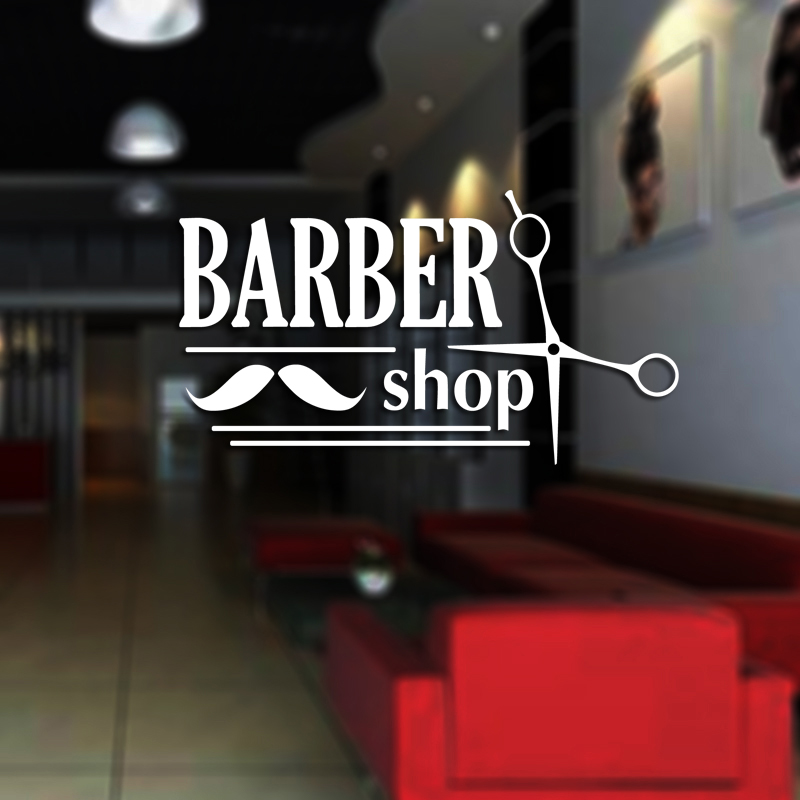 Man Barber Shop Sticker  Shave Bread Decal Haircut Shavers Posters Vinyl Wall Art Decals Decor Windows Decoration Mural