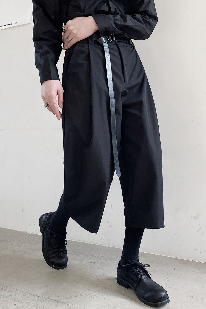 New tide brand men/'s simple casual wide-leg pants Japanese hair stylist fashion loose samurai eight-point skirt pants