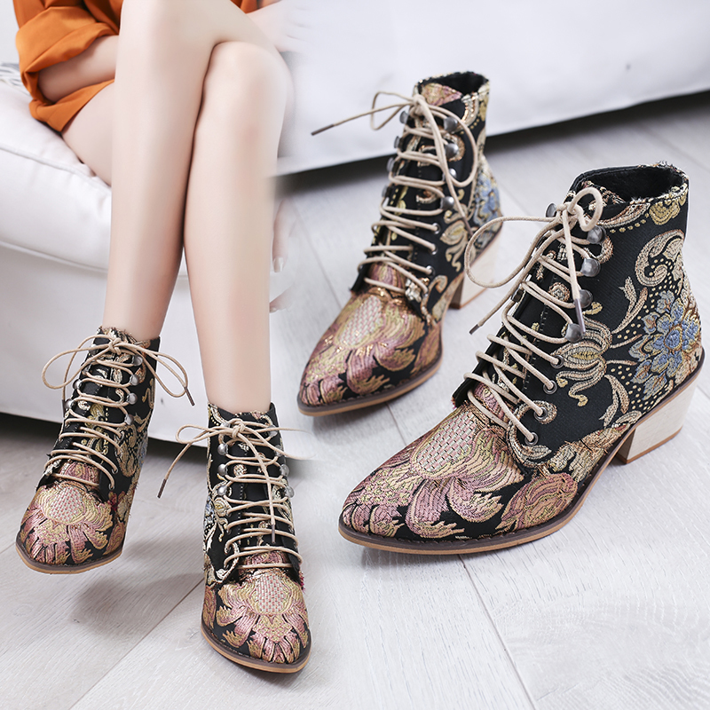 Litthing 2019 Spring Retro Women Embroidery Flower Short Boots Lady Elegant Lace Up Ankle Boots Female Chunky Botas Mujer