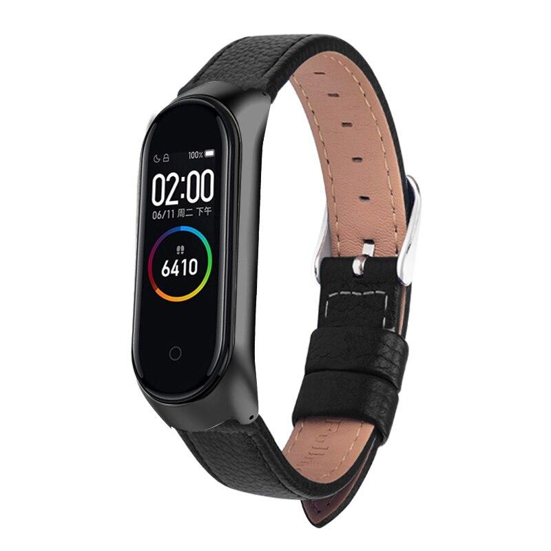 Цветной кожаный чехол из черного розового золота, Смарт-часы для Xiaomi Mi band 4/3/5, ремешок для xiaomi mi Band 5/4/3, браслет