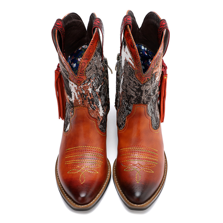 New Genuine Leather Fine Printed Ladies Shoes Ankle Boots Vintage Handmade Chunky Heel Embroidery Western Boots Shoes For Woman  (15)