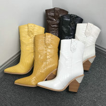 Cowboy-Ankle-Boots High-Heel boots Wedge Snake-Print Beige Western Faux-Leather Black