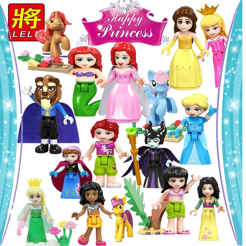 Legoing Friends Girl Bela Princess Ariel Mermaid Cinderella Mia Andrea Figures Building Block Toy For Children Legoings Figurine