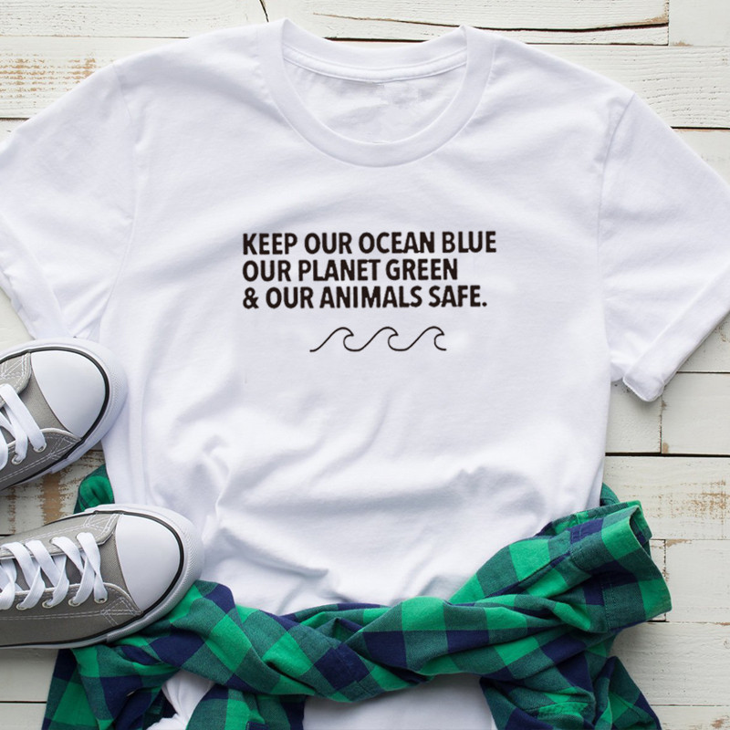 Keep Our Ocean Blue Our Planet Green /& Our Animals Safe Unisex Kids Adult Tshirt