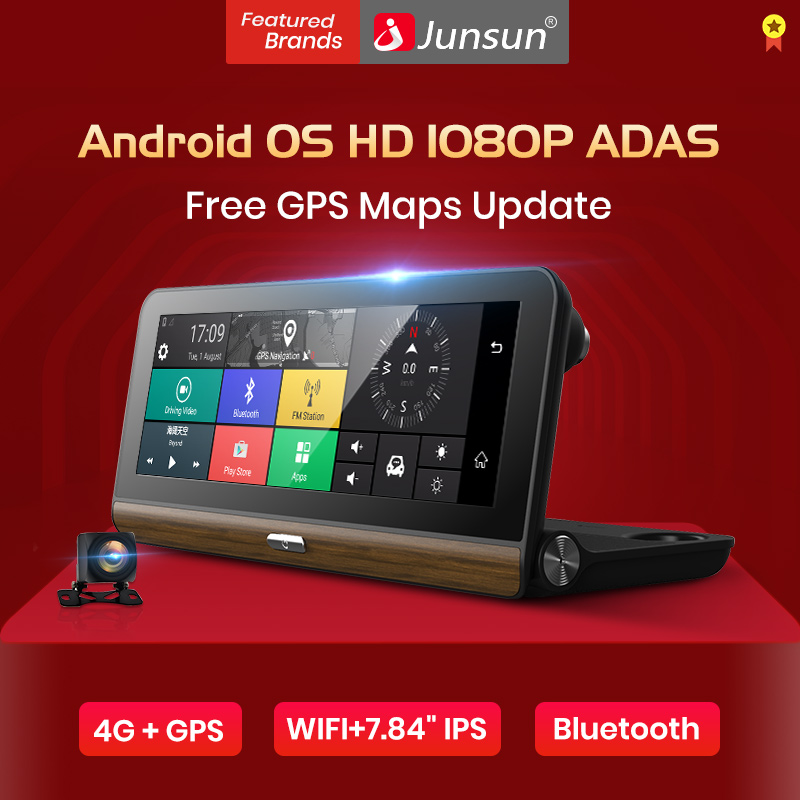 Junsun Car DVR Cam-Recorder Gps-Navigator Two-Cameras Video-Dash ADAS E31P Morror Android-Os title=