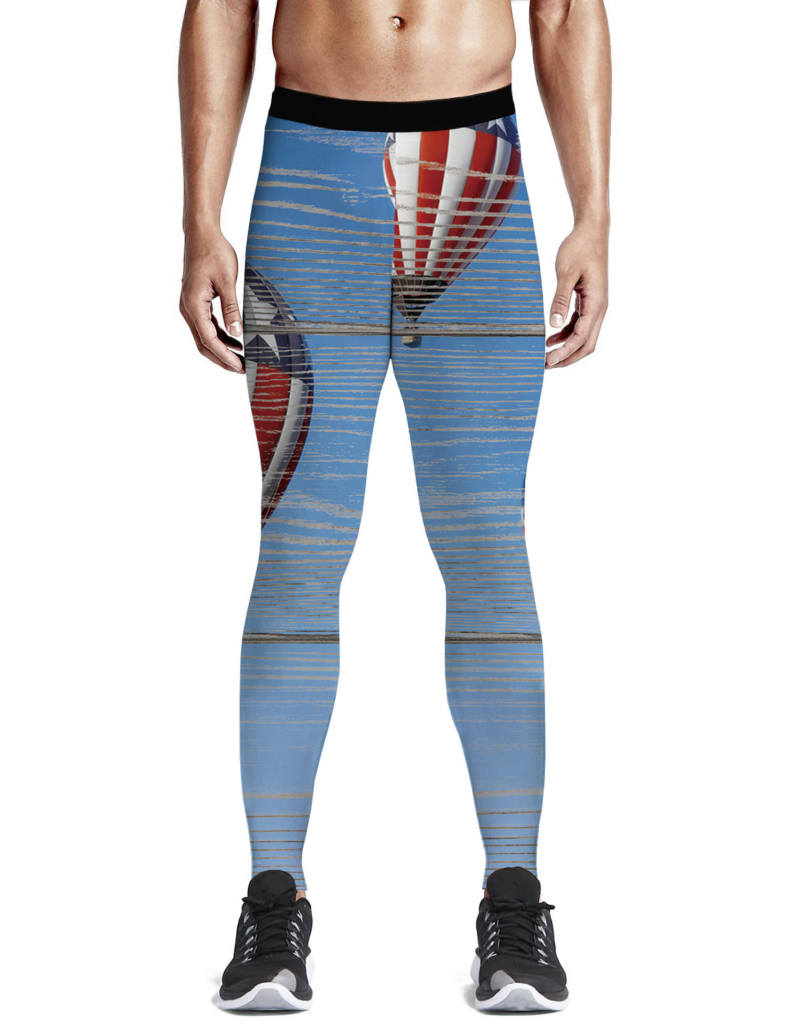 Hot Air Balloon In The Background Of The American Flag Pants Men Happy Valentine/'S Day Moisture-Wicking Buttery Soft High Waiste