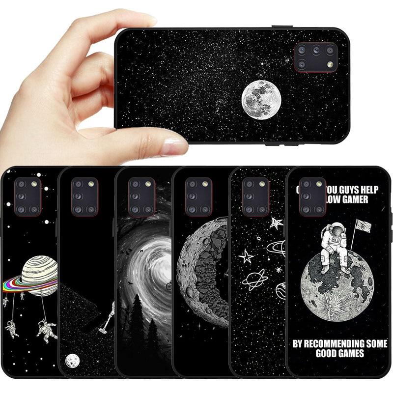 Soft Silicone Case For Samsung A31 Case A51 A71 Black TPU Painted Phone Funda For Samsung M31 A41 A21 A01 A11 A70E A81 A91 Cover