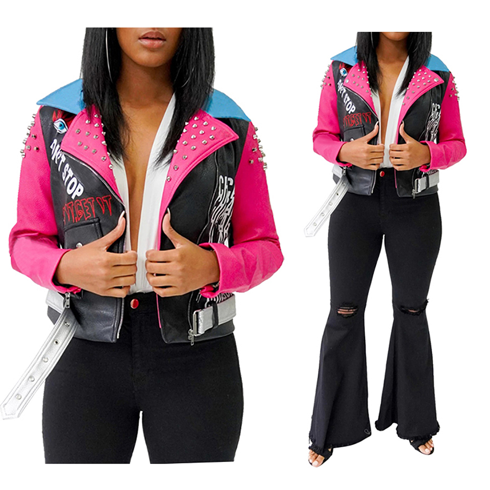 Women/'s Rivet Printing Lapel Contrast Color Zipper PU Leather Fashionable Coat Long-sleeve Short Jacket