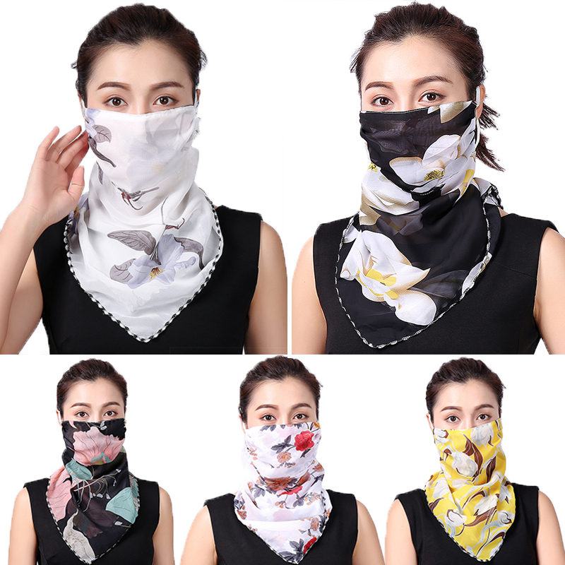 New Lady Chiffon Face Scarf Silk Women Neck Wraps Sunscreen Mouth Face Cover Floral Print Thin Summer Scarves Bandana Summer