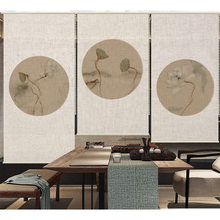 Chinese style art curtain custom pattern linen office curtain hanging type door curtain screen partition(China)
