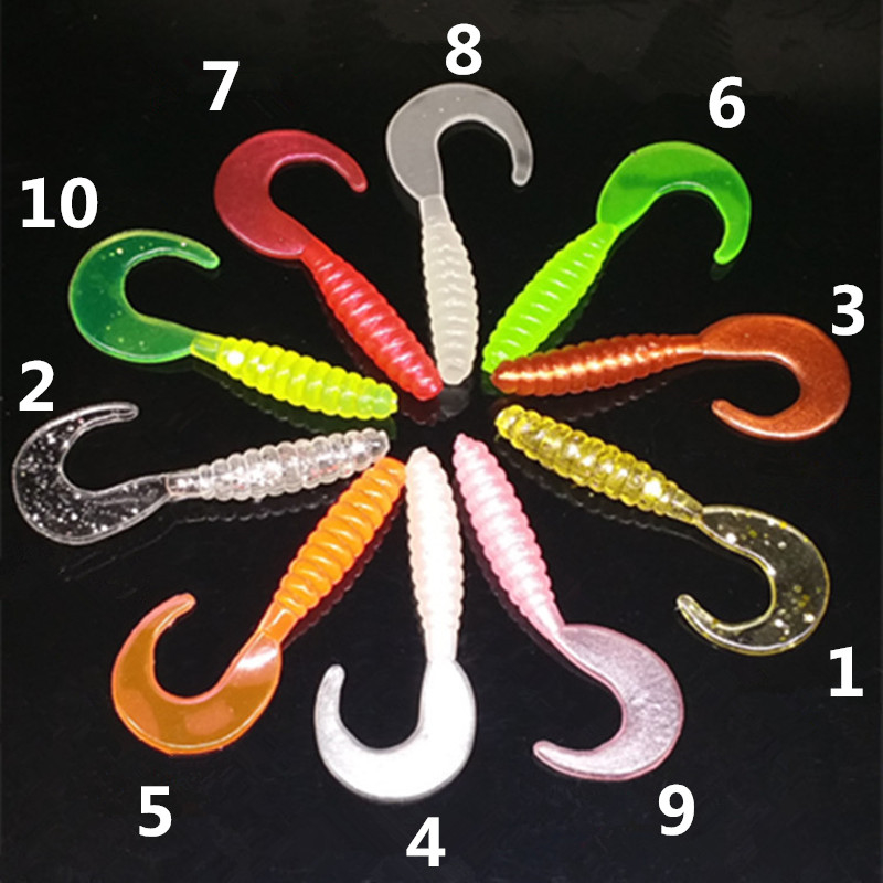 10 Colors Silicone Rubber Fake Maggots Bait Luminous Mini Curly Tail Grubs Soft Worms Fishing Lures 3.5cm 5.5cm 7cm Fishing Bait