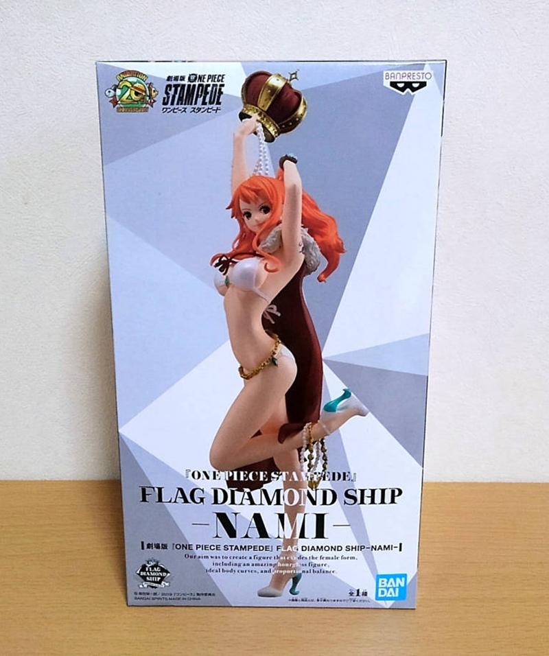 Anime One Piece Stampede Flag Diamond Ship Nami PVC Figure New Loose 25cm