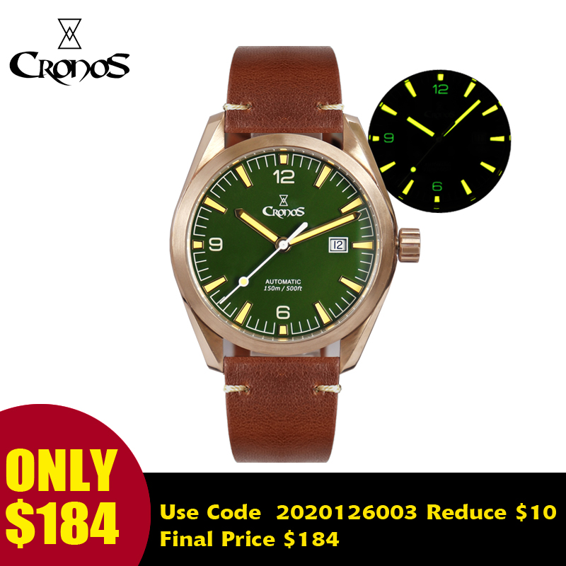 Cronos Men Watch Bronze CuSn8 Automatic PT5000 SW200 Sapphire Crystal Leather Rubber Strap